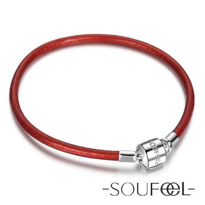 SOUFEEL索菲爾 925純銀珠飾 牛皮手鍊 紅色