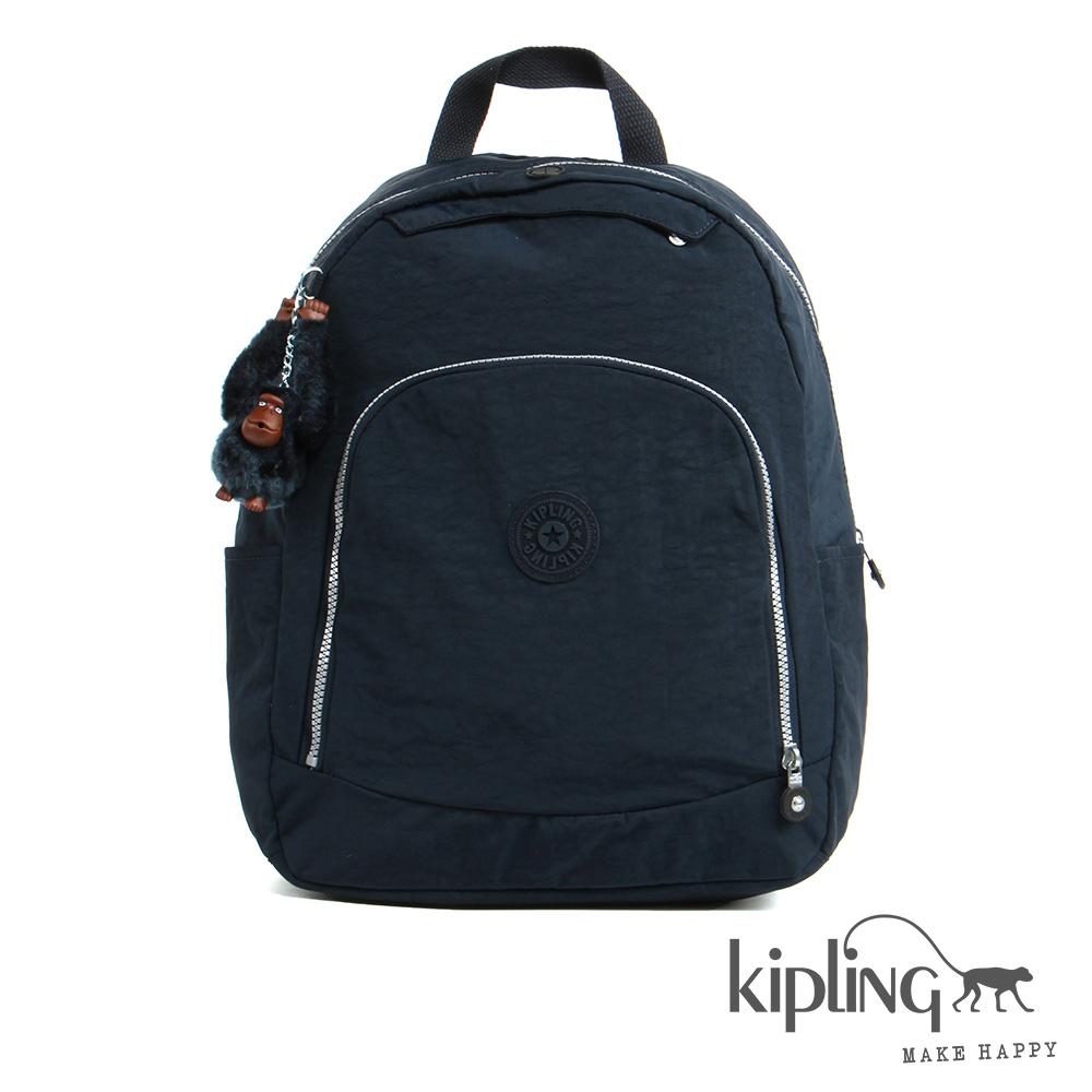 Kipling後背包藍黑素面