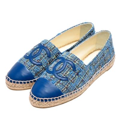 CHANEL 經典Espadrilles羊皮小香LOGO斜紋軟呢厚底鉛筆鞋(藍彩-37)