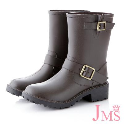 JMS-百搭雙扣環中筒雨靴-咖啡色