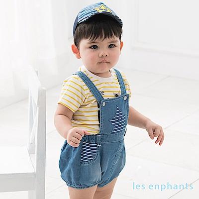 les enphants baby 帥氣星星天絲牛仔吊帶褲 牛仔藍