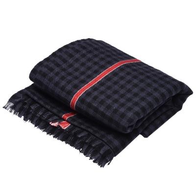 GUCCI 經典細格紋紅色飾邊羊毛混絲流蘇圍巾(黑灰/200X72cm)