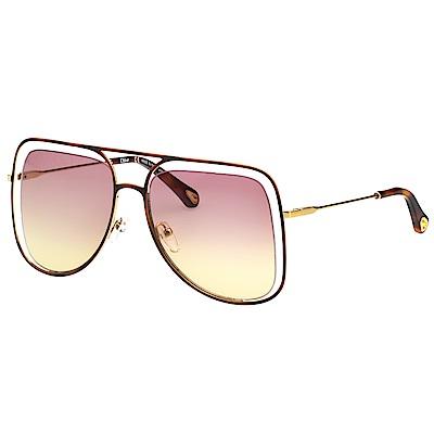 CHLOE 立體層次金屬大框 太陽眼鏡 (琥珀+金色) CE130S