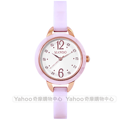 MANGO 優雅晶鑽時尚陶瓷手錶-白X淺紫/30mm