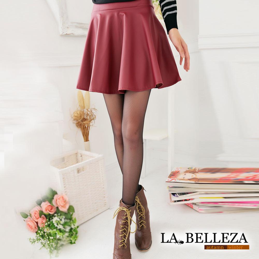 【La Belleza 中大尺碼】個性必備‧皮質波浪圓短裙 (酒紅)