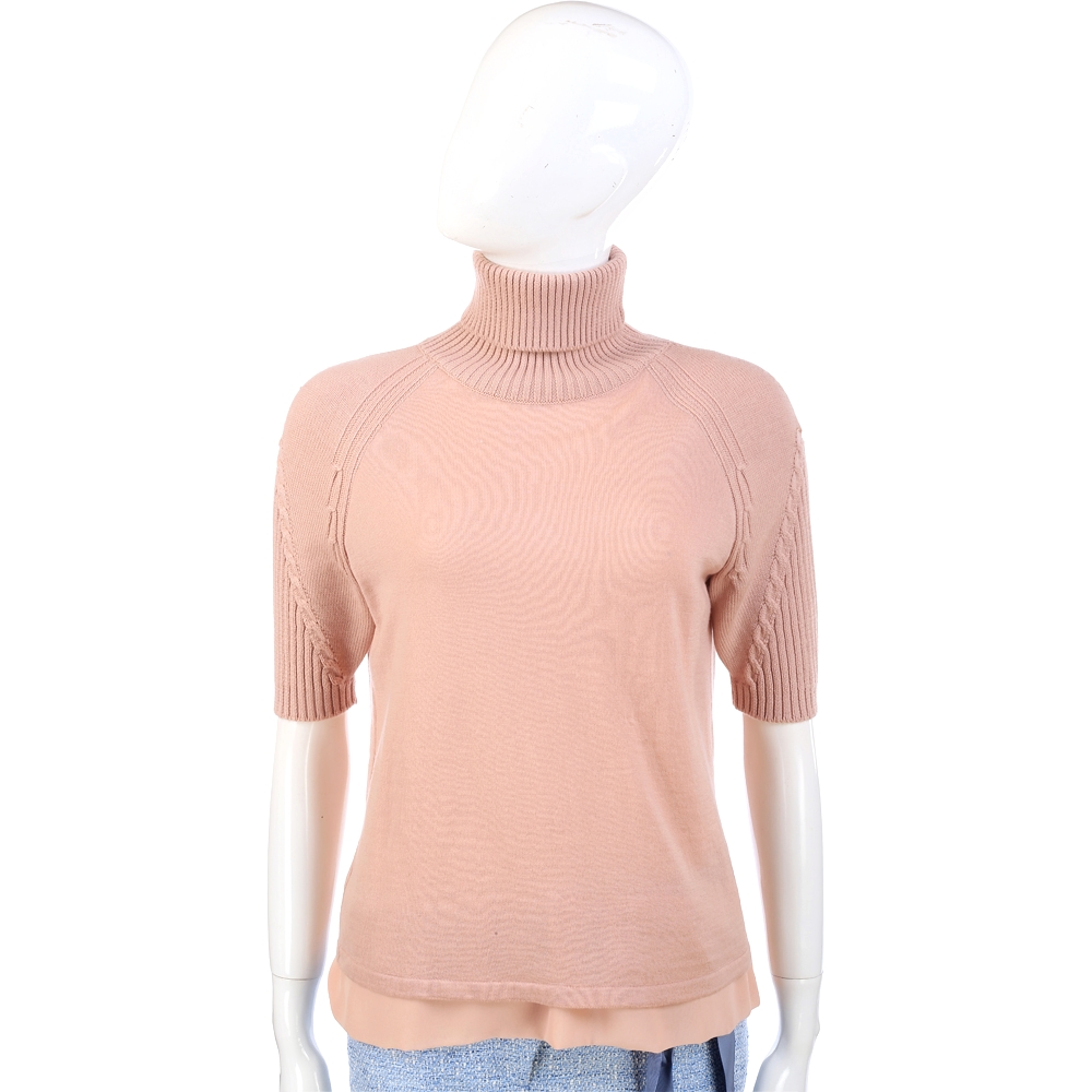 PHILOSOPHY 粉色高領羊毛短袖上衣(100%LANA)
