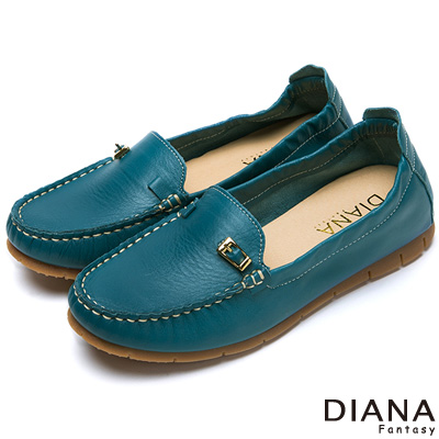 DIANA-超軟Q-經典素面金屬皮帶飾釦牛皮內增高