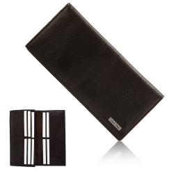 Calvin Klein 荔枝皮革金屬LOGO多卡長夾禮盒-咖啡色