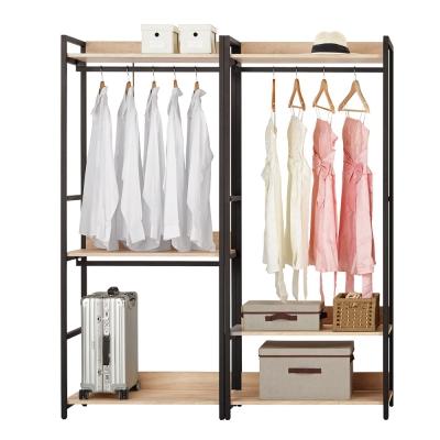 Boden-裴拉5.3尺開放式組合衣櫃(雙吊+單桿)