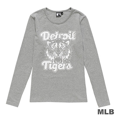 MLB-底特律老虎隊仿舊風印花長袖T恤-麻灰 (女)