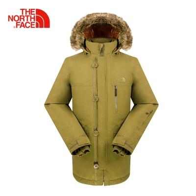 The North Face北面男款軍裝綠防水保暖羽絨外套