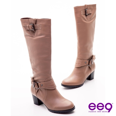 ee9 完美主義~皮帶釦時尚美型曲線粗跟長靴~魅力可可