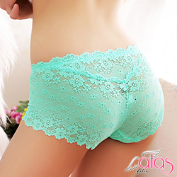 平口內褲 綺麗光影法式蕾絲性感內褲 (翠藍) alas