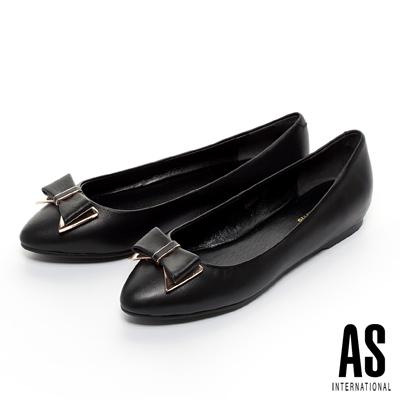 AS-金屬飾片蝴蝶結內增高娃娃鞋-黑