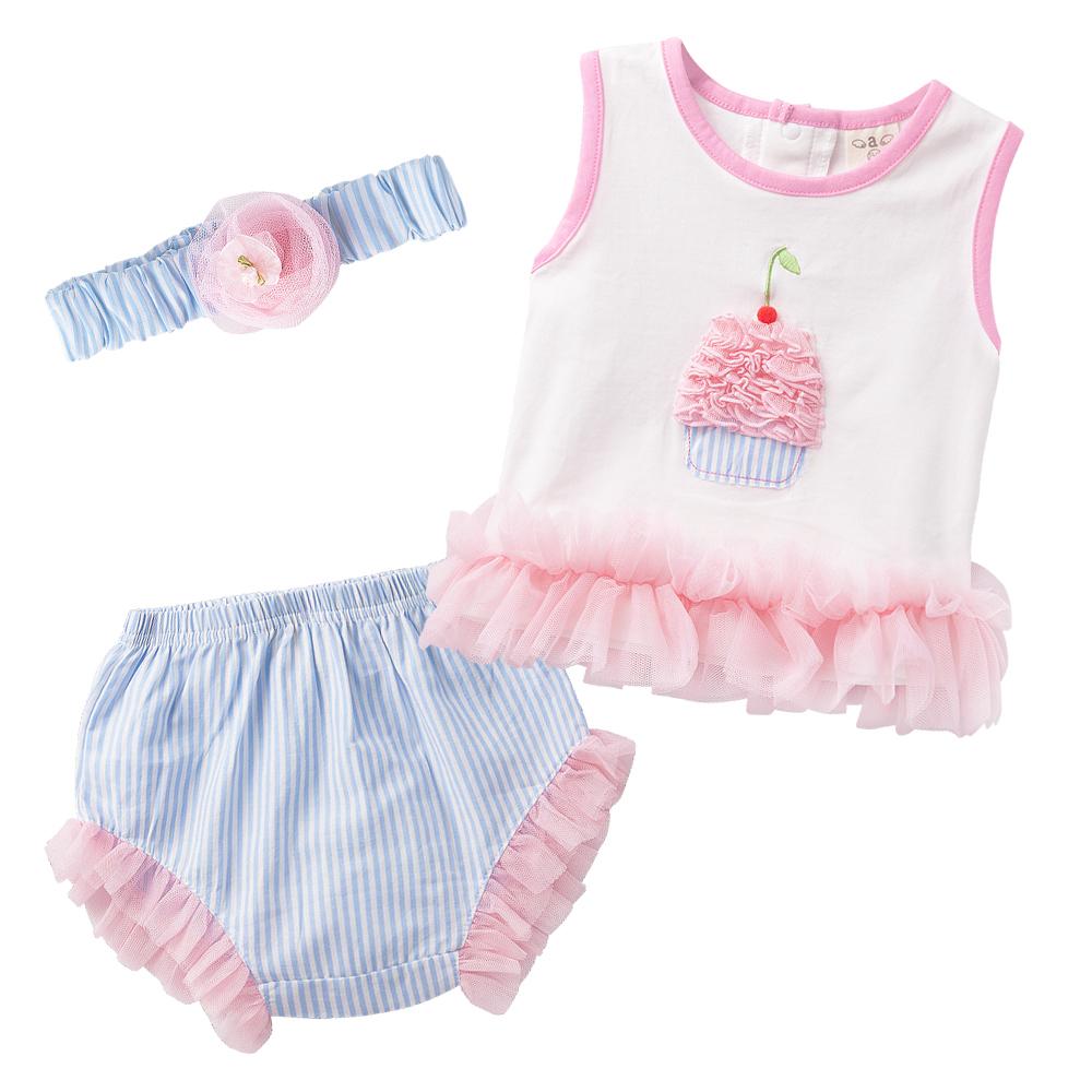 baby童衣 套裝 無袖立體蛋糕圖附髮帶32027