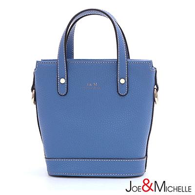 J&M 真皮雲妮露mini手提包  粉蔚藍