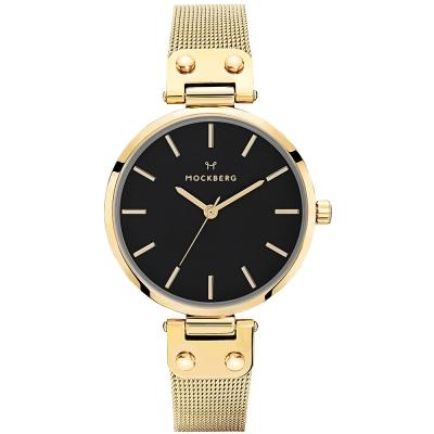 MOCKBERG LIVIV優雅米蘭帶時尚手錶-黑X金/34mm