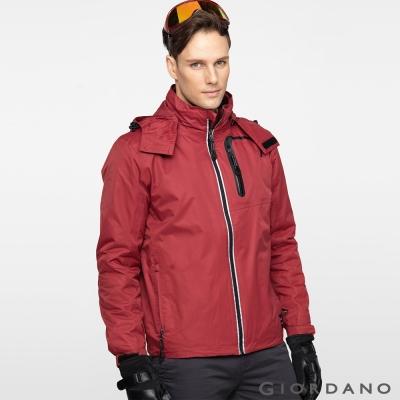 GIORDANO男裝三合一山系防潑水防風反光拉鍊保暖衝鋒衣外套-29-港口紅色