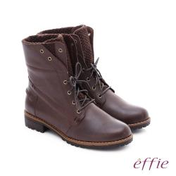 effie 混搭美型 異材質拼接綁帶中筒靴 深咖啡