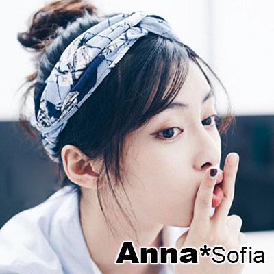 AnnaSofia-灑墨線雪紡交叉-超寬彈性髮帶-藍系