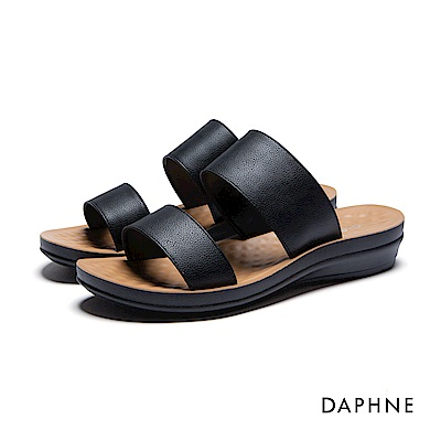 達芙妮DAPHNE 拖鞋-寬版雙帶按摩顆粒平底拖鞋-黑