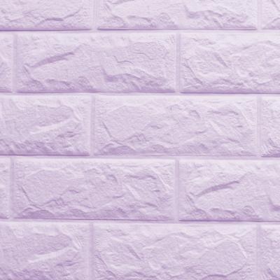 3D立體泡棉磚紋壁貼1片(粉嫩紫)
