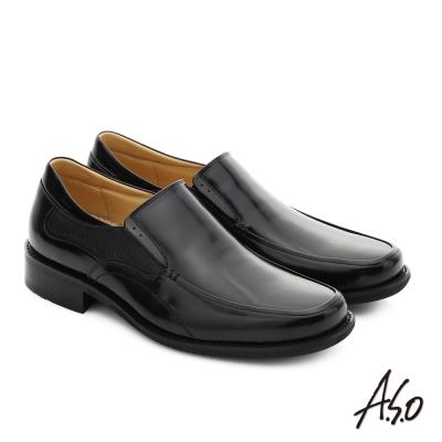 A.S.O 勁步雙核心 真皮鏡面直套式奈米紳士鞋 黑色