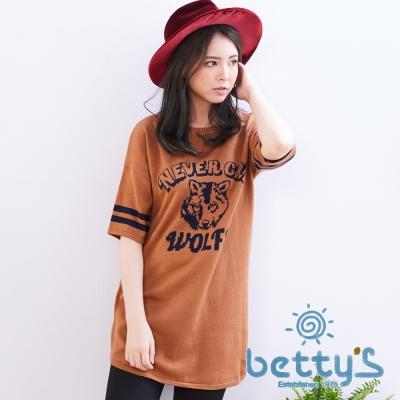 betty's貝蒂思 美式風格野狼五分袖長版針織衫(棕色)