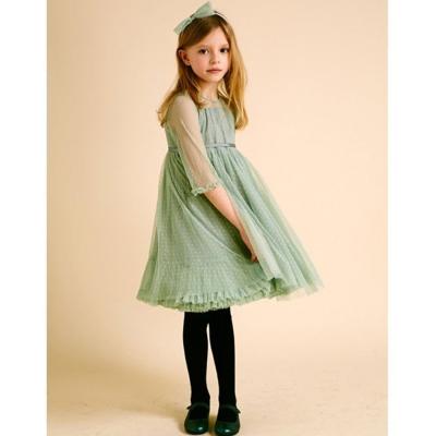 I Love Gorgeous 點點紡紗長袖洋裝-湖水綠