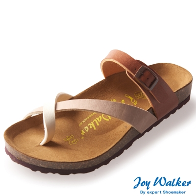 Joy Walker 素面交叉帶夾腳涼鞋* 米色