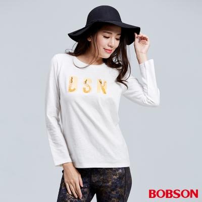 BOBSON  女款縫珠字母印圖白色上衣