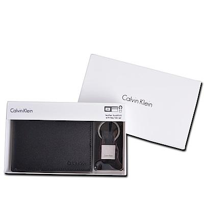 Calvin Klein CK 男士商務皮革短夾禮盒兩件組附鑰匙圈(紳士黑)