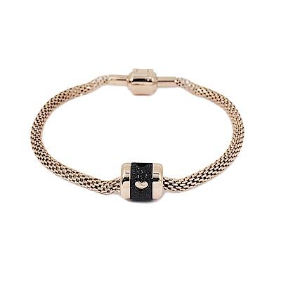 BERING丹麥精品 Valentines Day玫瑰金開扣造型手環手鏈
