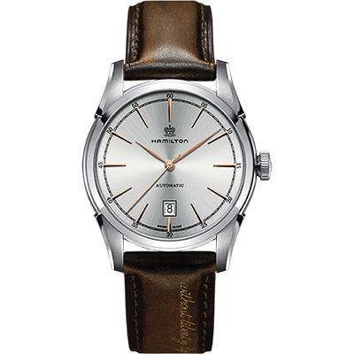 Hamilton CLASSIC 紳士大三針機械腕錶-銀x棕/42mm