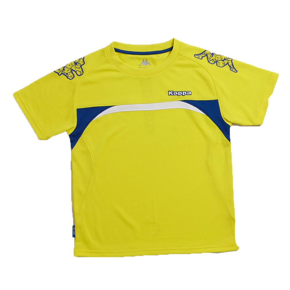 KAPPA義大利小朋友吸濕排汗速乾彩色圓領衫 清黃 經典藍