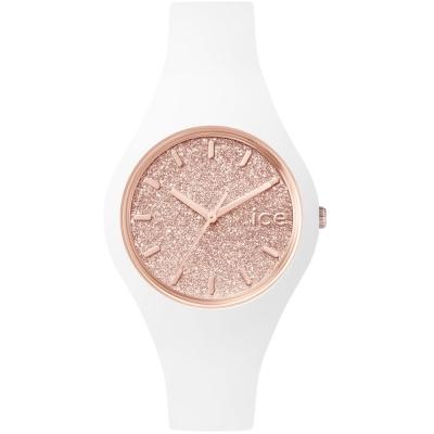 Ice-Watch 璀璨系列 光彩晶鑽手錶 S - 白x玫瑰金/38mm
