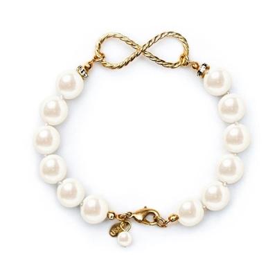 Kiel James Patrick 金色無限綴飾 白色珍珠單圈手環