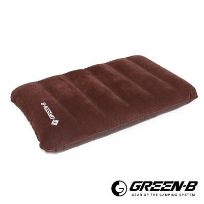 GREEN-B 輕量PVC植絨水波紋充氣枕 咖啡色 超值2入 - 急速配