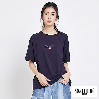 SOMETHING 法國國旗LOGO短袖T恤-女-丈青