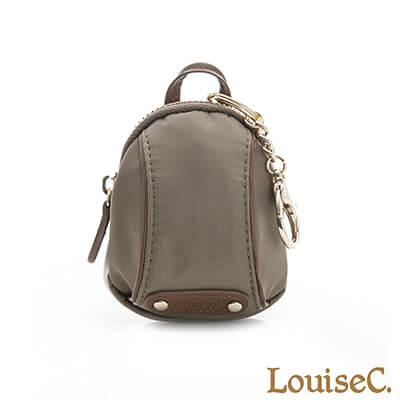 LouiseC. MINI尼龍背包造型零錢包/鑰匙包-卡其色-16N37-0047A06