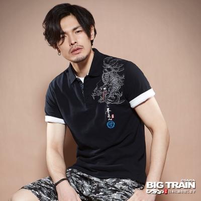 BIG TRAIN中大尺碼 加大燃夏怒龍POLO衫-男-黑色