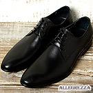 ALLEGREZZA.經典不敗義式素面綁帶皮鞋-黑色