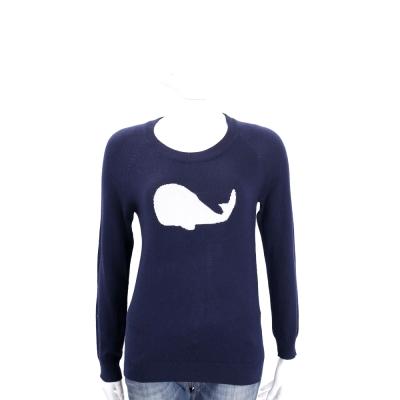 BLUGIRL-FOLIES 深藍色鯨魚圖騰針織長袖上衣