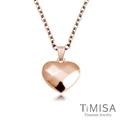 TiMISA《菱格愛心(S) 玫瑰金》純鈦項鍊(E)