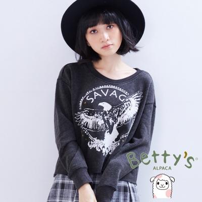 betty's貝蒂思 老鷹圖章星星鉚釘仿舊短版T-shirt(深灰色)