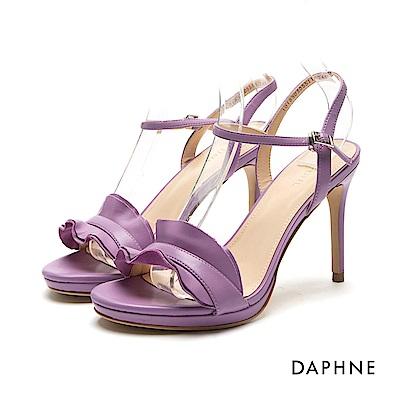 達芙妮DAPHNE 涼鞋-前高後高荷葉邊一字帶涼鞋-紫