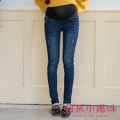 日系小媽咪孕婦裝-孕婦褲~星星織帶刷破造型牛仔褲 S-XXXL