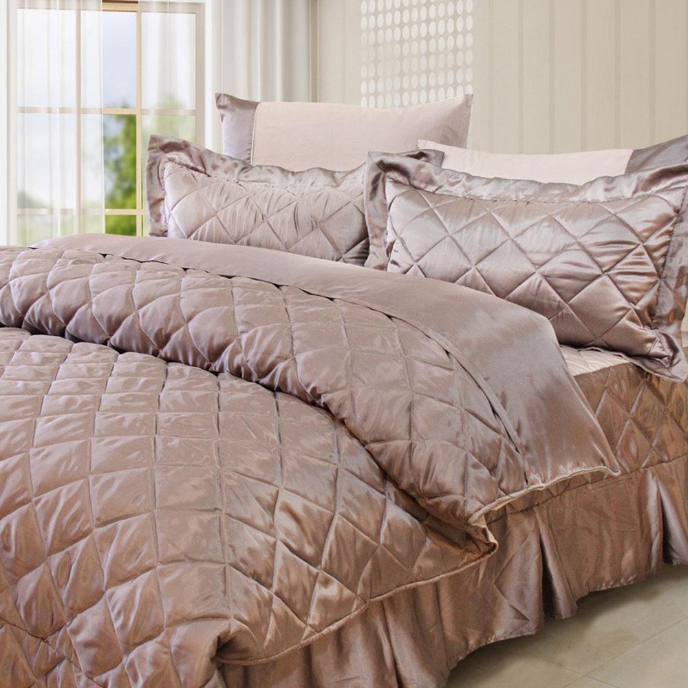 LAMINA 雙色亮面精梳棉六件式床罩組-粉紫(雙人)