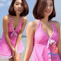 SANQI三奇 愛戀熱旅 兩件式連身裙泳裝 泳衣(粉M~XL)