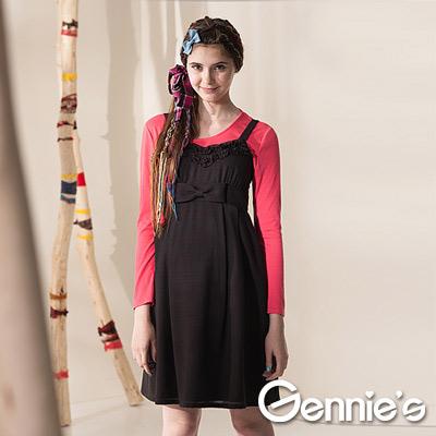 【Gennie's奇妮】羊毛大蝴蝶滾邊孕婦背心洋裝-咖(G2411)